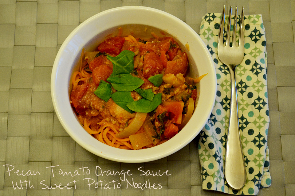 Pecan Tomato Orange Sauce with Sweet Potato Noodles [Vegan/Gluten Free]