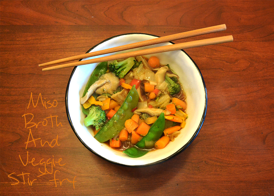 Miso Broth Soup with Vegetable Stir-Fry [Vegan/Gluten Free]